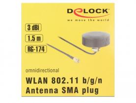 DeLock WLAN 802.11 b/g/n Antenna SMA plug 3dBi fixed omnidirectional with connection cable RG-174 1,5m outd